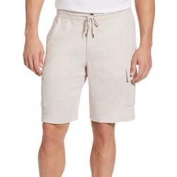 Mens Solid Linen Blend Cargo Shorts
