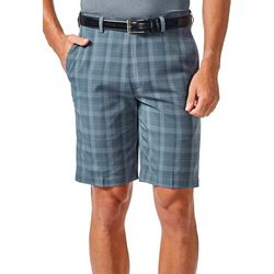 Haggar Mens Cool 18 Cadet Plaid Shorts