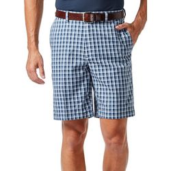 Haggar Mens Cool 18 Small Plaid Shorts
