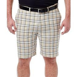 Haggar Mens Big & Tall Cool 18 Pro Tartan Plaid Shorts