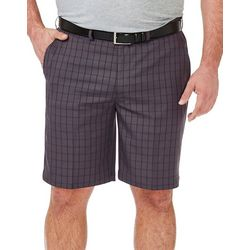 Haggar Mens Big & Tall Cool 18 Pro Windowpane Plaid Shorts
