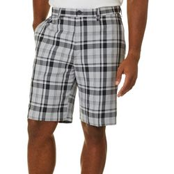 Haggar Mens Cool 18 Pro Plaid Flat Front