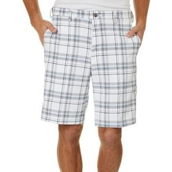 Haggar Mens Cool 18 Pro Seersucker Plaid Flat Front Shorts