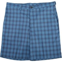 Haggar Mens Cool 18 Pro Windowpane Plaid Flat Front Shorts