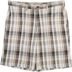 Haggar Mens Cool 18 Pro Madras Plaid Shorts
