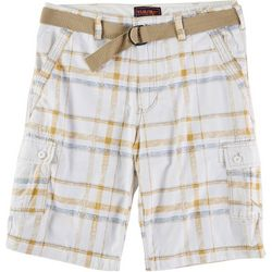 Wearfirst Mens  Kalua Plaid Belted Cargo Shorts