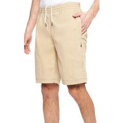 Mens Solid Elastic Waist Drawsting Shorts