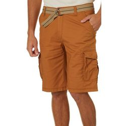 Mens Solid Ripstop Belted Cargo Shorts