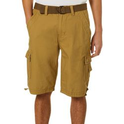 Mens Caution Ripstop Belted Cargo Shorts