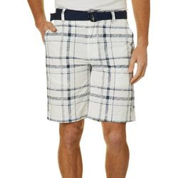 Wearfirst Mens Belted Plaid Shorts