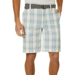 Wearfirst Mens Belted Plaid Print Shorts