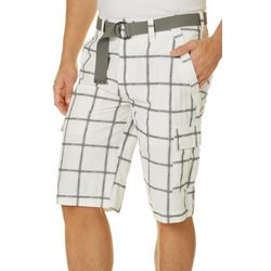 Wearfirst Mens Belted Big Plaid Shorts