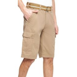 Wearfirst Mens Caution Ripstop Solid Belted Cargo Shorts