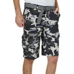 Mens Belted Camo Shorts