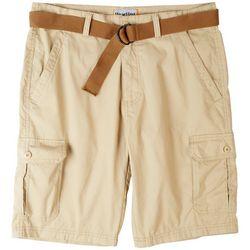 Wearfirst Mens Jasper Solid Belted Cargo Shorts