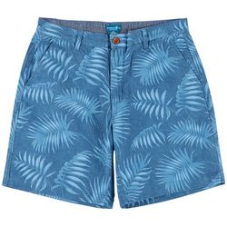 Caribbean Joe Mens Tropical Leaf Print Twill Shorts