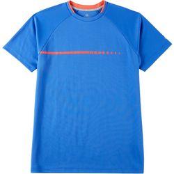 Mens Solid Mesh Contrast Crew Neck T-Shirt