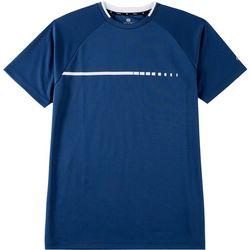 Mens Solid Mesh Crew Neck T-Shirt