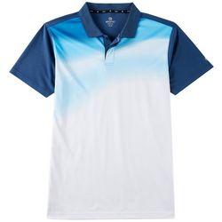 Mens Colorblocked Dot Print Polo Shirt