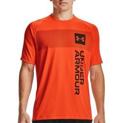 Under Armour Mens Shaded Chest Stripe Wordmark Logo T-Shirt