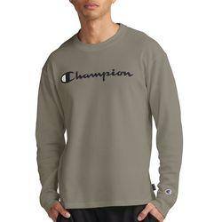 Champion Mens Waffle Knit Wordmark Long Sleeve T-Shirt
