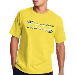 Champion Mens Mirrored Logo Graphic Crew Neck T-Shirt