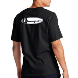 Champion Mens Black And White  Oval  Logo T-Shirt