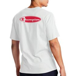 Champion Mens Red And White Oval Logo T-Shirt