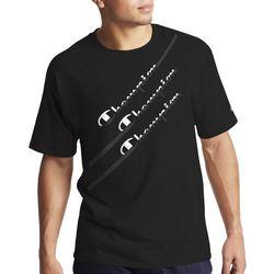 Champion Mens Diagonal Graphic Triple Logo Sleeve T-Shirt