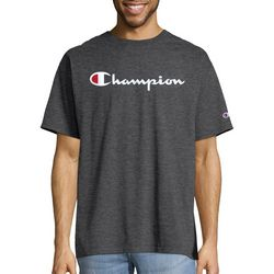 Champion Mens Jersey Script Logo Heathered T-Shirt