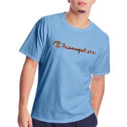 Mens Short Sleeve Graphic Script Logo T-Shirt