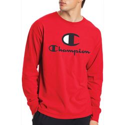 Champion Mens Long Sleeve Solid Script Logo T-Shirt