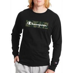 Mens Long Sleeve Camo Fill Graphic Logo T-Shirt