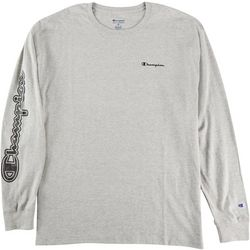 Champion Mens Long Sleeve Heathered Graphic Logo T-Shirt