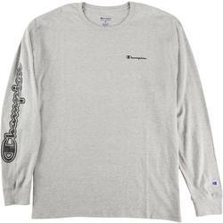 Mens Long Sleeve Heathered Graphic Logo T-Shirt