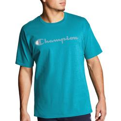 Mens Jersey Script Logo Heathered T-Shirt