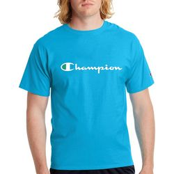 Champion Mens Jersey Script Logo Crew T-Shirt