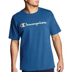 Mens Jersey Script Logo Crew T-Shirt