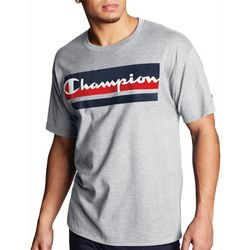 Champion Mens Colorblock Script Logo Heathered T-Shirt