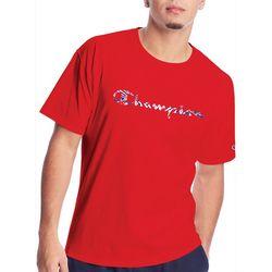 Champion Mens Tie Dye Filled Graphic Script Logo T-Shirt