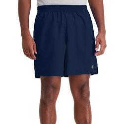 Mens Solid Boxed Logo Woven Shorts