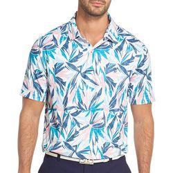 Mens Leaf Print Polo Shirt