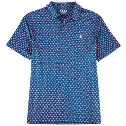 Mens Flamingo Print Polo Shirt