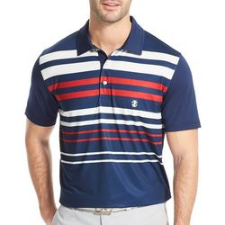 IZOD Golf Mens Striped Print Polo Shirt