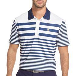 Mens Multistriped Print Polo Shirt