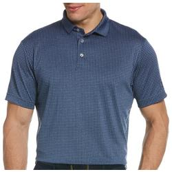 Mens Grid Plaid Print Polo Shirt