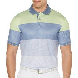 PGA TOUR Mens Stripe Heathered Golf Polo Shirt