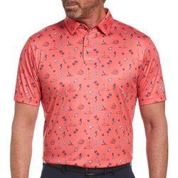 PGA TOUR Mens Tropical Conversational Print Polo Shirt