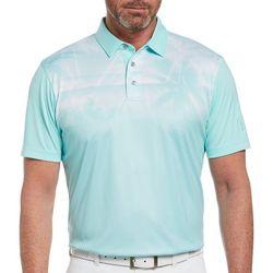 PGA TOUR Mens Tropical Placement Print Polo Shirt