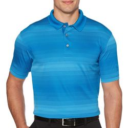 PGA TOUR Mens Geo Jacquard Ombre Stripe Polo Shirt